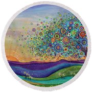 Afterglow - This Beautiful Life Round Beach Towel by Tanielle Childers