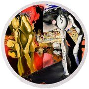 Aftermath Of Narcissus - After Dali- Round Beach Towel by Ryan Demaree