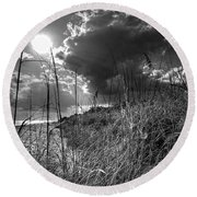Round Beach Towel featuring the photograph Afternoon At A Sanibel Dune In Blank And White by Chrystal Mimbs