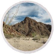 Afternoon At Joshua Tree National Park Round Beach Towel