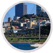 Afternoon At Maritime Park Round Beach Towel