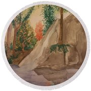 Afternoon At The Creek Round Beach Towel by Maria Urso