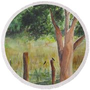 Round Beach Towel featuring the painting Afternoon Chat by Vicki  Housel
