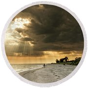 Round Beach Towel featuring the photograph Afternoon Fishing On Sanibel Island by Chrystal Mimbs