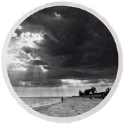 Afternoon Fishing On Sanibel Island In Black And White Round Beach Towel