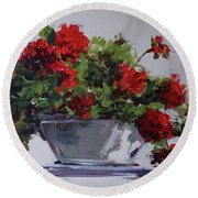 Afternoon Geraniums Round Beach Towel
