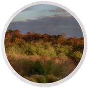 Round Beach Towel featuring the photograph Afternoon Glow In Hocking Hills by Haren Images- Kriss Haren