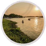 Afternoon Huong River #2 Round Beach Towel
