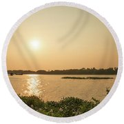 Afternoon Huong River Round Beach Towel
