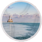 Afternoon In The Harbour Round Beach Towel