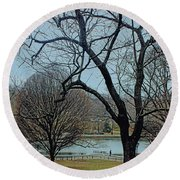 Round Beach Towel featuring the photograph Afternoon In The Park by Sandy Moulder