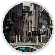 Round Beach Towel featuring the photograph Afternoon In Venice by Alex Lapidus