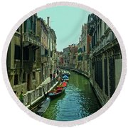 Round Beach Towel featuring the photograph Afternoon In Venice by Anne Kotan