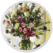 Afternoon Kissed Of Color Round Beach Towel