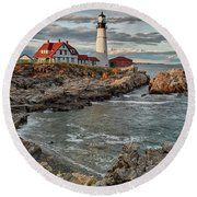 Afternoon Light At Cape Neddick Round Beach Towel