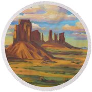 Round Beach Towel featuring the painting Afternoon Light Monument Valley by Diane McClary
