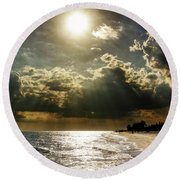 Round Beach Towel featuring the photograph Afternoon On Sanibel Island by Chrystal Mimbs