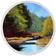Afternoon On The River Round Beach Towel
