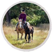 Afternoon Ride In The Sun - Cowgirl Riding Palomino Horse With Foal Round Beach Towel