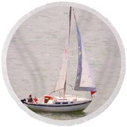 Round Beach Towel featuring the photograph Afternoon Sail by James BO Insogna