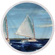 Afternoon Sailers Round Beach Towel