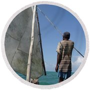 Afternoon Sailing In Africa Round Beach Towel