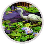 Round Beach Towel featuring the painting Afternoon Snack by David  Van Hulst