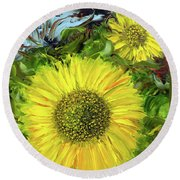 Afternoon Sunflowers Round Beach Towel
