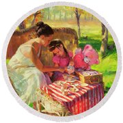 Round Beach Towel featuring the painting Afternoon Tea Party by Steve Henderson