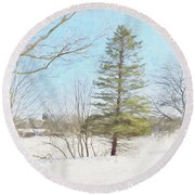 Against The Elements Round Beach Towel by Tricia Marchlik