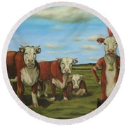 Against The Herd Round Beach Towel by Leah Saulnier The Painting Maniac