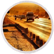 Round Beach Towel featuring the photograph Against The Road by Beto Machado