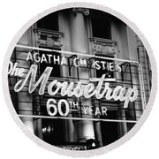 Round Beach Towel featuring the photograph Agatha Christie's The Mouse Trap 60th Anniversary by Helga Novelli
