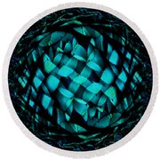 Agave Blues Abstract Round Beach Towel