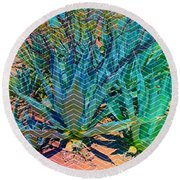 Round Beach Towel featuring the mixed media Agave by Michelle Dallocchio