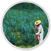 Agave Worker Round Beach Towel by John Kolenberg
