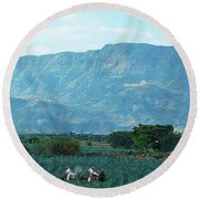Round Beach Towel featuring the photograph Agave Workers by John Kolenberg