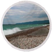 Round Beach Towel featuring the photograph Agawa Bay by Rachel Cohen