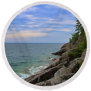 Round Beach Towel featuring the photograph Agawa Bay Rocky Shore by Rachel Cohen