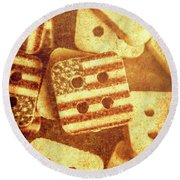 Age Old Fashion Buttons Round Beach Towel