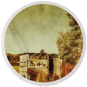 Aged Australia Countryside Scene Round Beach Towel
