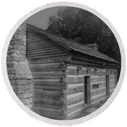Aged Cabin At The Hermitage Round Beach Towel