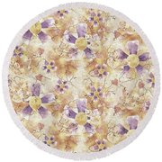 Aged Flower Clown Pattern Round Beach Towel