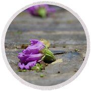 Aged In Purple And Blue Round Beach Towel