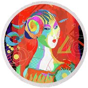 Ageless Madam Round Beach Towel