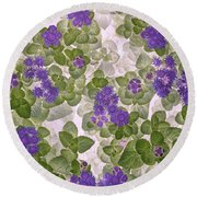 Round Beach Towel featuring the photograph Ageratum by Ann Jacobson