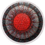 Red And Black Abstract Round Beach Towel by Patricia Lintner