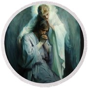 Round Beach Towel featuring the painting Agony In The Garden by Schwartz Frans