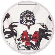 Round Beach Towel featuring the drawing Ahmad Bradshaw by Jeremiah Colley