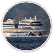 Aida Stella Cruise Ship Leaving Marmaris Round Beach Towel